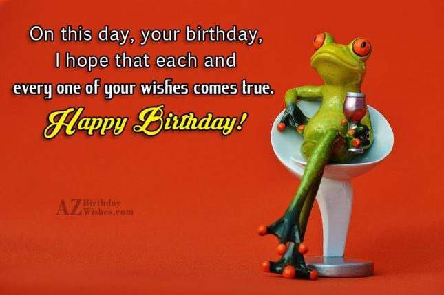 Happy birthday with frog drinking wine in the background - AZBirthdayWishes.com