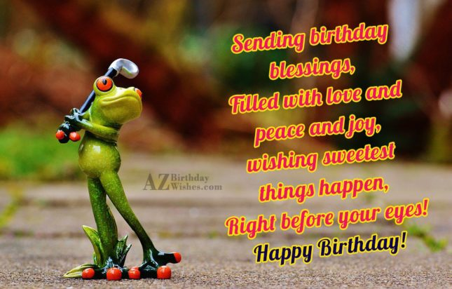 Happy birthday with frog playing golf in the background - AZBirthdayWishes.com