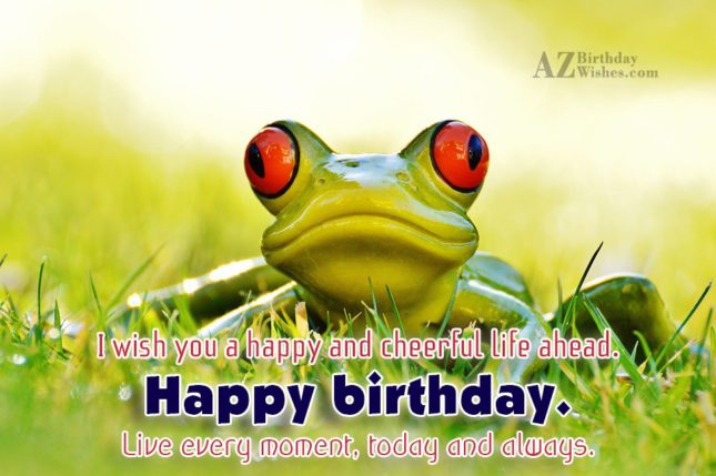Happy birthday with frog background. Wish you have a cheerful day… - AZBirthdayWishes.com