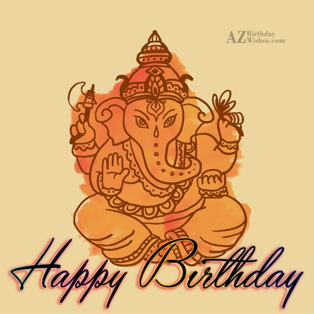 Happy birthday on beautiful painting of Ganesha… - AZBirthdayWishes.com