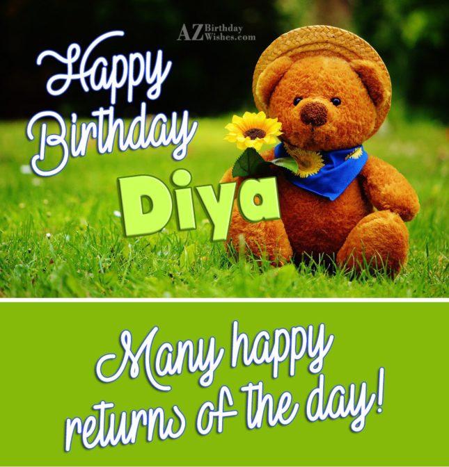 Happy Birthday Diya - AZBirthdayWishes.com