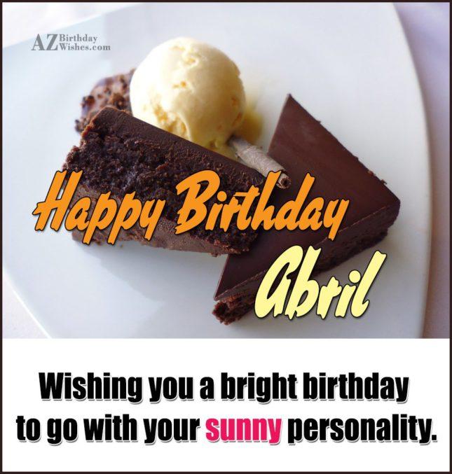 Happy Birthday Abril - AZBirthdayWishes.com