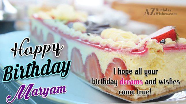 Happy Birthday Maryam - AZBirthdayWishes.com