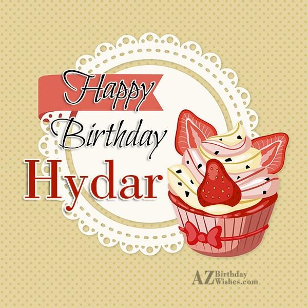 Happy Birthday Hydar - AZBirthdayWishes.com