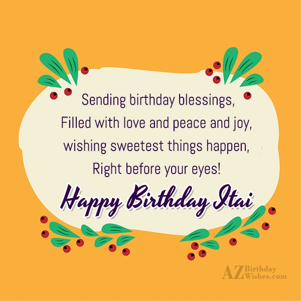 Happy Birthday Itai - AZBirthdayWishes.com