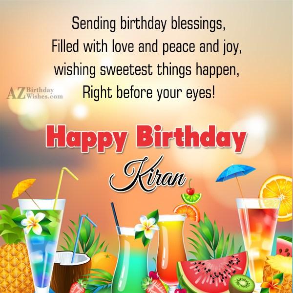 Happy Birthday Kiran - AZBirthdayWishes.com