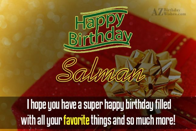 Happy Birthday Salman - AZBirthdayWishes.com