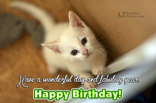 Have a wonderful day and fabulous year - AZBirthdayWishes.com