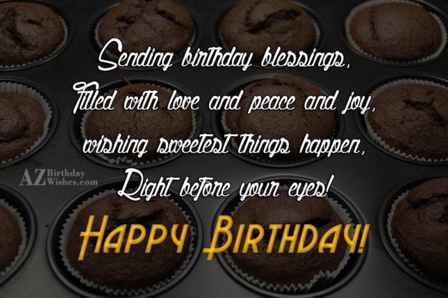 Sending birthday blessings - AZBirthdayWishes.com