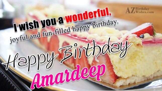 Happy Birthday Amardeep - AZBirthdayWishes.com