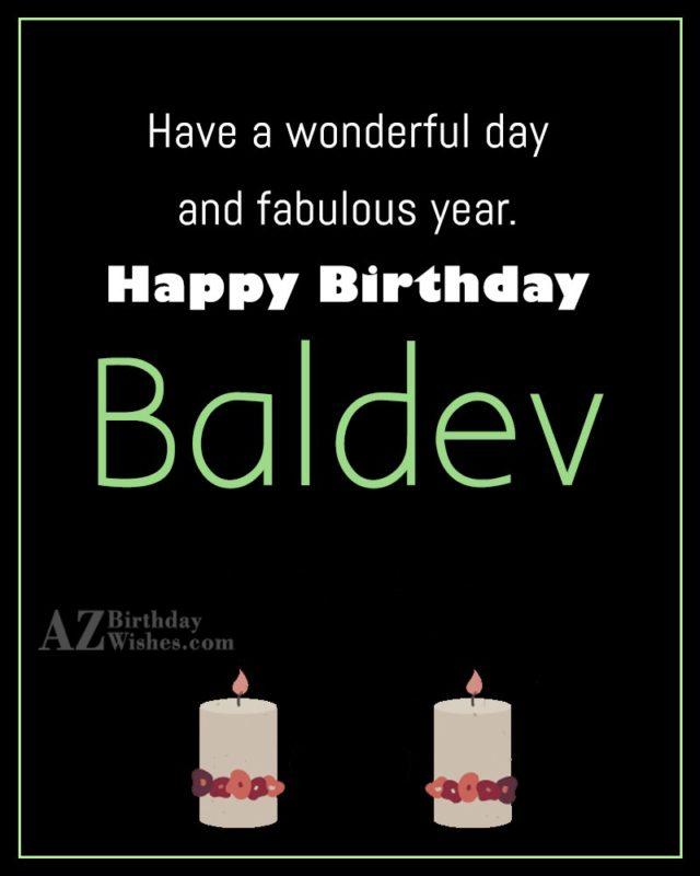 Happy Birthday Baldev - AZBirthdayWishes.com