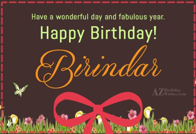 Happy Birthday Birinder - AZBirthdayWishes.com