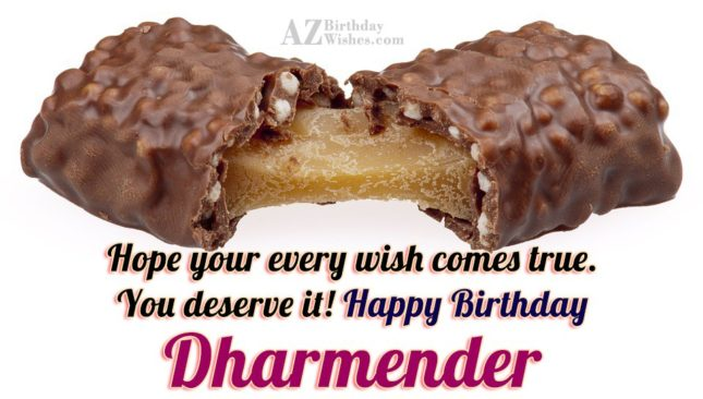 Happy Birthday Dharmender - AZBirthdayWishes.com