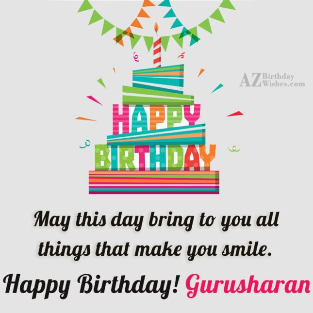 Happy Birthday Gurusharan - AZBirthdayWishes.com