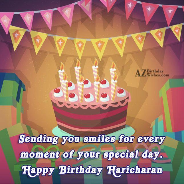 Happy Birthday Haricharan - AZBirthdayWishes.com