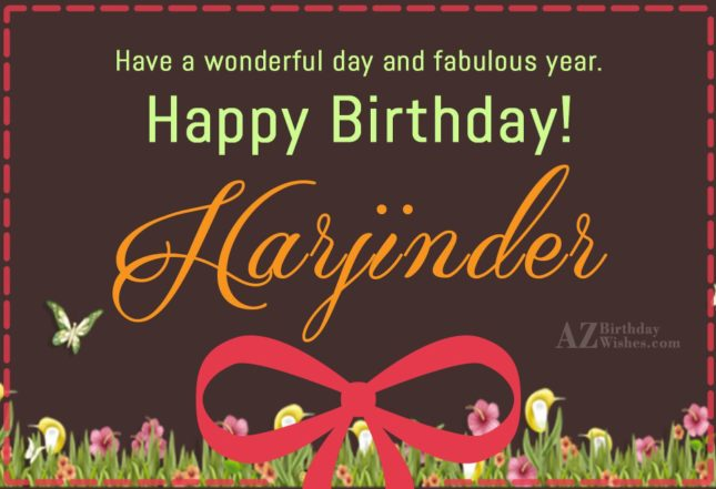 Happy Birthday Harjinder - AZBirthdayWishes.com