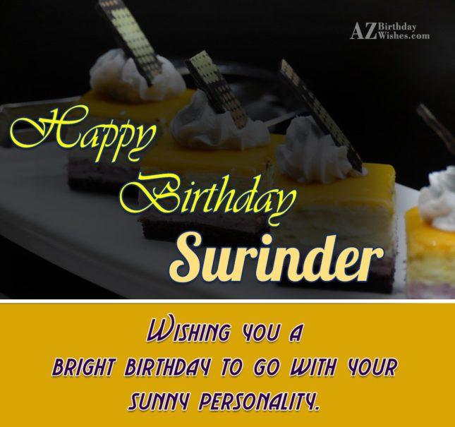 Happy Birthday Surinder - AZBirthdayWishes.com