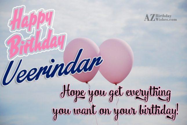 Happy Birthday Veerinder - AZBirthdayWishes.com