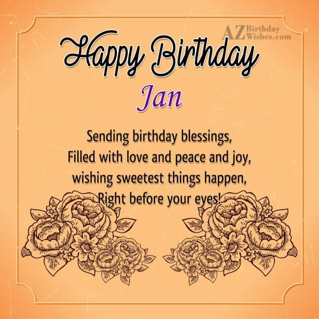 Happy Birthday Jan - AZBirthdayWishes.com