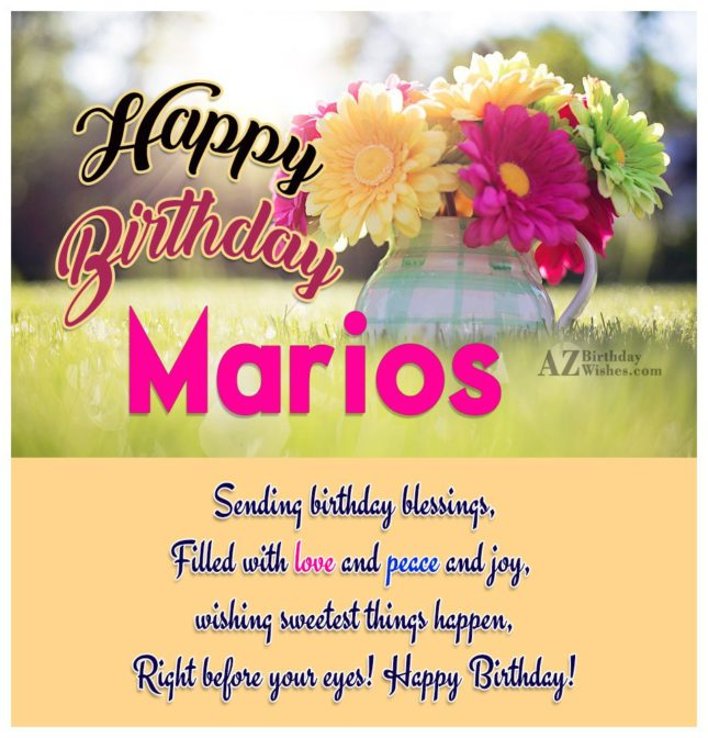 Happy Birthday Marios - AZBirthdayWishes.com
