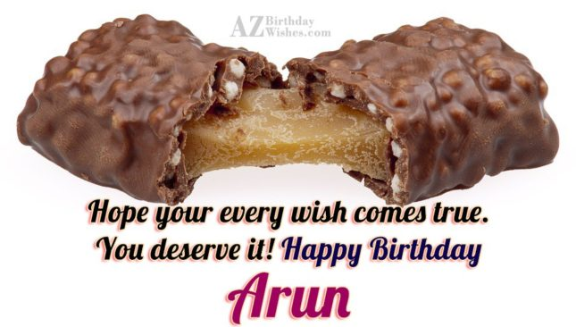 Happy Birthday Arun - AZBirthdayWishes.com