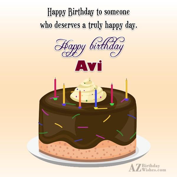 Happy Birthday Avi - AZBirthdayWishes.com