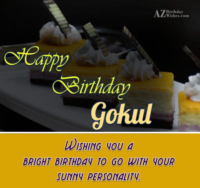 Happy Birthday Gokul - AZBirthdayWishes.com