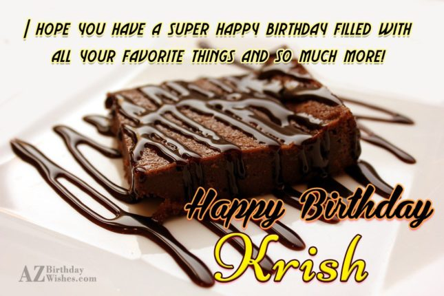 Happy Birthday Krish - AZBirthdayWishes.com