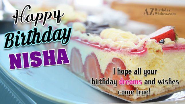 Happy Birthday Nisha - AZBirthdayWishes.com