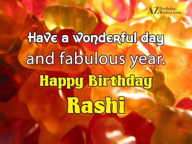 Happy Birthday Rashi - AZBirthdayWishes.com