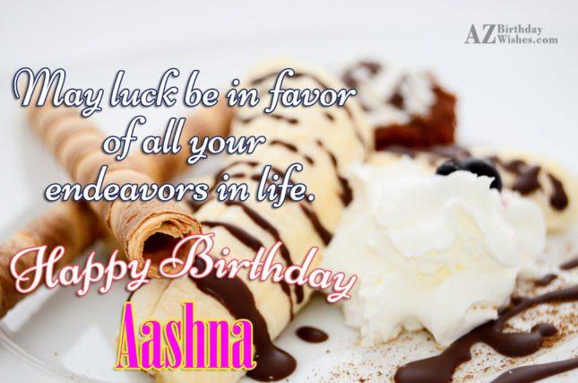 Happy Birthday Aashna - AZBirthdayWishes.com