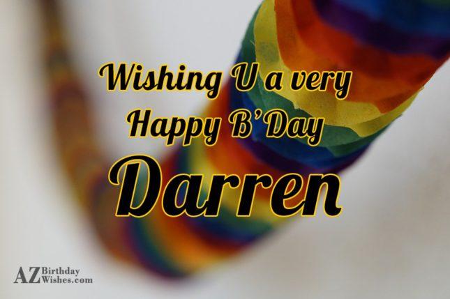 Happy Birthday Darren - AZBirthdayWishes.com