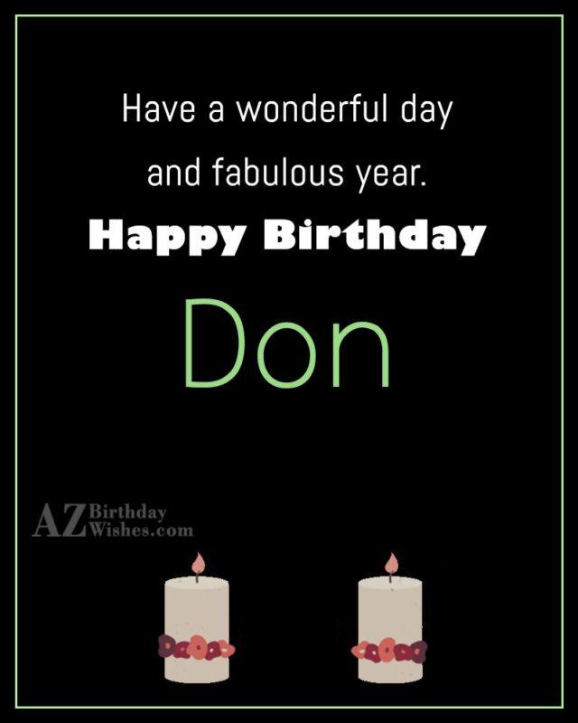 Happy Birthday Don - AZBirthdayWishes.com