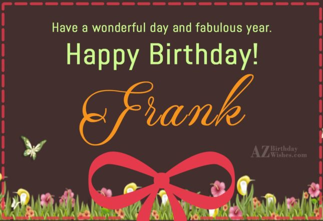 Happy Birthday Frank - AZBirthdayWishes.com