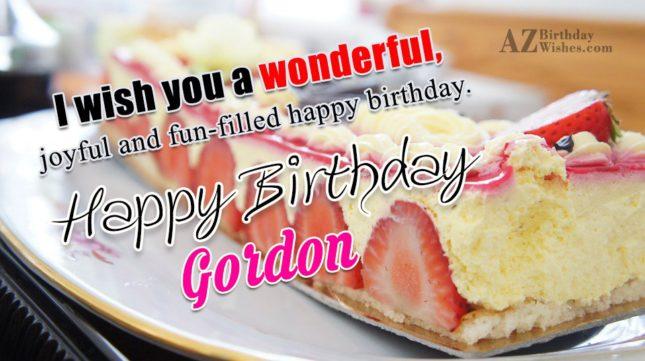 Happy Birthday Gordon - AZBirthdayWishes.com