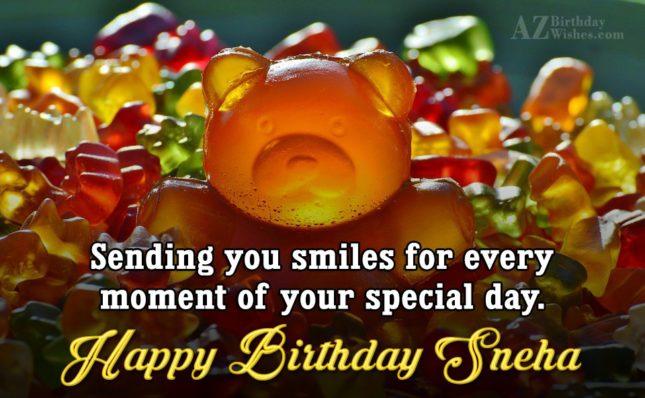 Happy Birthday Sneha - AZBirthdayWishes.com
