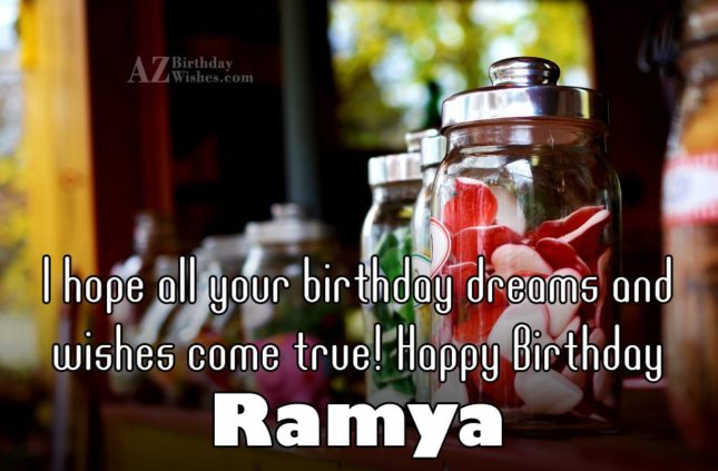 Happy Birthday Ramya - AZBirthdayWishes.com