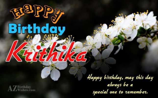 Happy Birthday Krithika - AZBirthdayWishes.com
