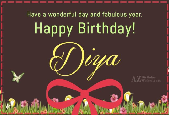 Happy Birthday Diya - AZBirthdayWishes.com