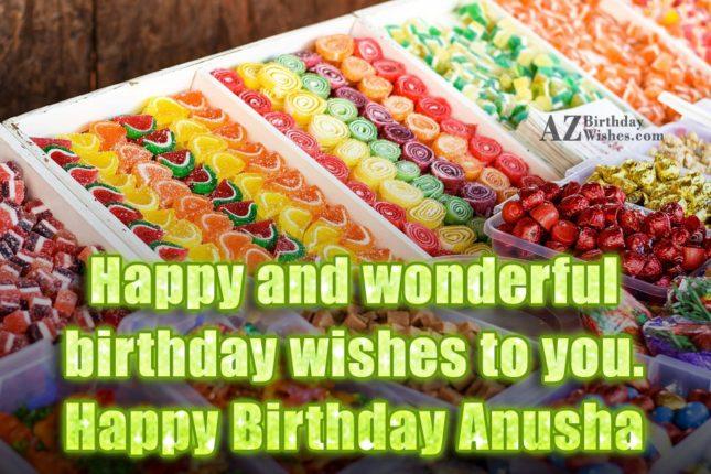 Happy Birthday Anusha - AZBirthdayWishes.com