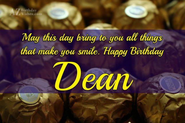 Happy Birthday Dean - AZBirthdayWishes.com