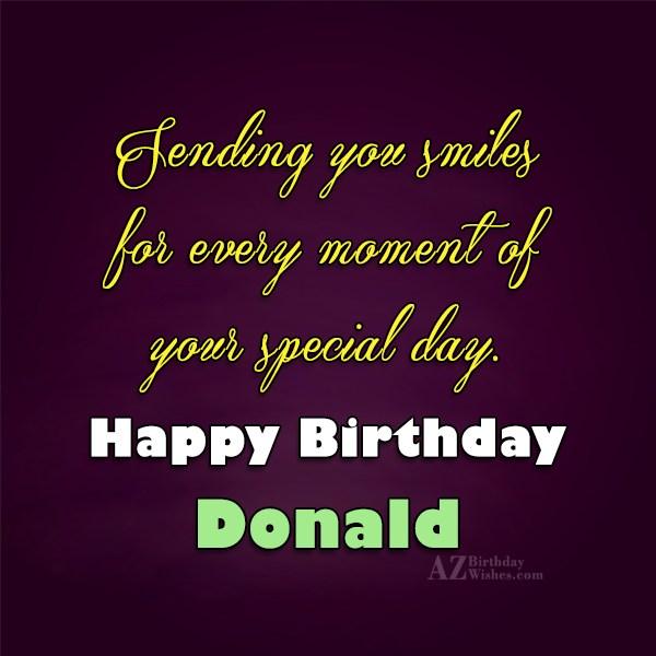 Happy Birthday Donald - AZBirthdayWishes.com