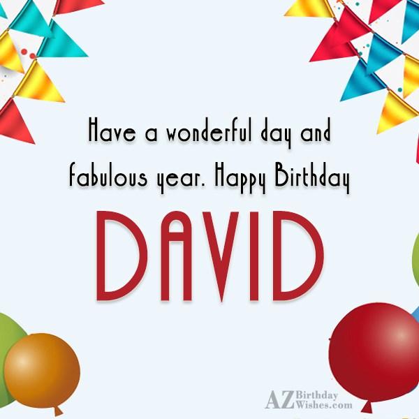 On Birthday Wishes Card Happy Birthday David Milestone
