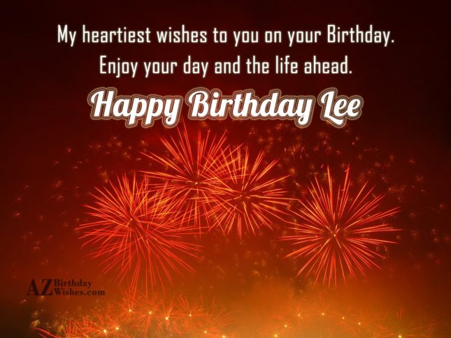 Happy Birthday Lee - AZBirthdayWishes.com