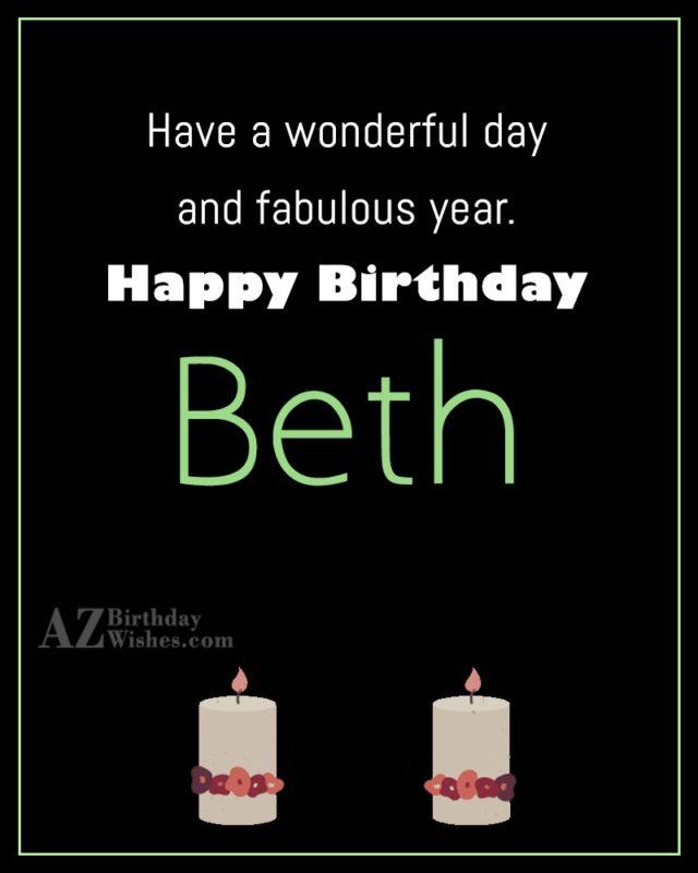 Happy Birthday Beth - AZBirthdayWishes.com
