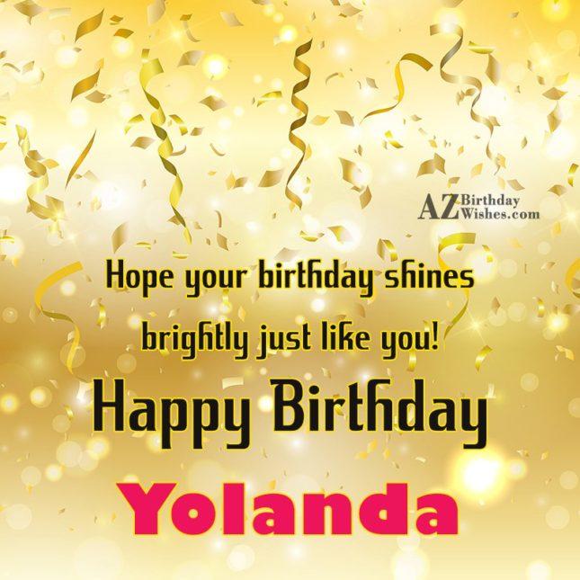 Happy Birthday Yolanda - AZBirthdayWishes.com