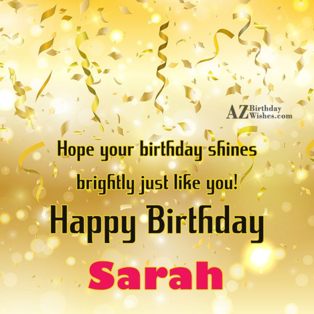 Happy Birthday Sarah - AZBirthdayWishes.com