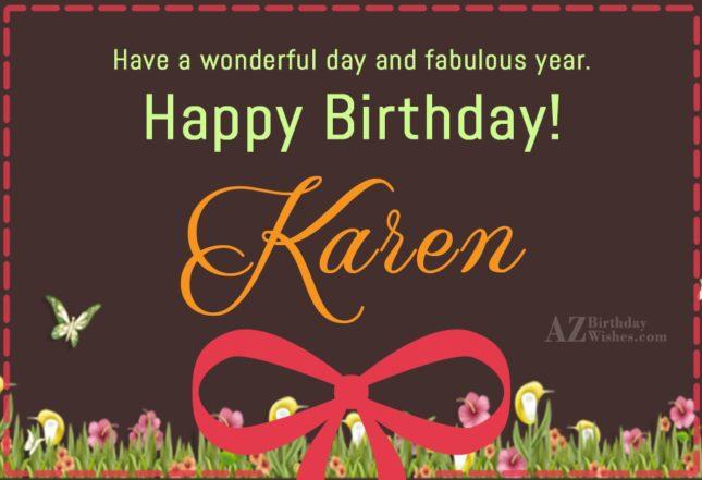 Happy Birthday Karen - AZBirthdayWishes.com
