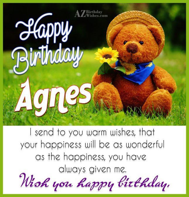 Happy Birthday Agnes - AZBirthdayWishes.com