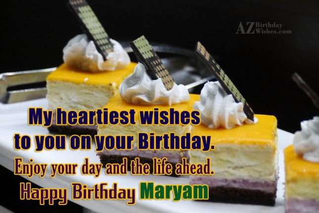 Happy Birthday Maryam - AZBirthdayWishes.com